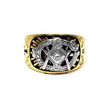 SOLID 14K YELLOW GOLD, WHITE GOLD & DIAMOND MASONIC RING ~ SIZE 10