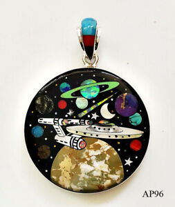 PERFECT OUTER SPACE SHIP PLANETS EARTH MOON INLAY .925 SILVER MEDALLION PENDANT