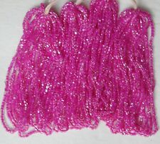 Vintage Antique Pink 10/0 Color Lined Fuchsia Seed Beads Czech Glass Mini Hanks