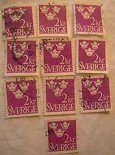 Sweden Stamp 1952 Scott 441 A56 Definitive 2 kr Set of 10