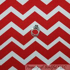 BonEful Fabric FQ Cotton Quilt Red White American CHEVRON Stripe Seuss Xmas Girl