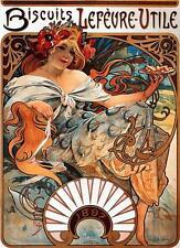 Cotton Canvas Alphonse Mucha Art Nouveau BISCOTTI Lefèvre-utile stampa poster Nuovo