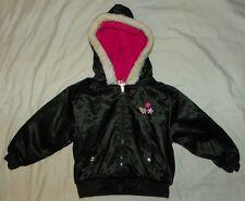Baby Girls PARK BENCH KIDS Hooded JACKET 4T Black Satiny Pink Fleece Lining