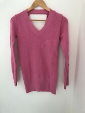Ladies Pink Jumper Size 8 Knitwear Long Sleeve <JJ329
