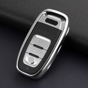 Silver Smart Car Key Case Fob Cover Holder For Audi A4 B8 A5 A6 A7 A8 Q5
