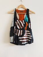 Easton Pearson Vintage 90s Silk Sequin Embelished Tank Top RARE