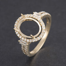 Oval Cut 8×10mm Natural Baguette Diamond Ring Setting Only Solid 18K Yellow Gold