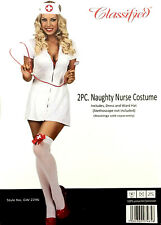 Classified White Zip Up Sexy Naughty Nurse Costume Fancy Dress & Hat Size Small