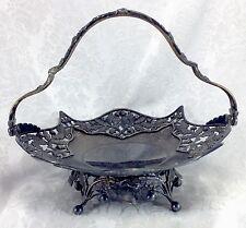 Pairpoint Oak Acorn Branches Bride's Basket Silverplate Antique Vintage
