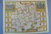Vintage decorative sheet map of Surrey John Speede 1610