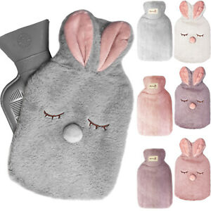 Soft Hot Water Bottle with Plush Fluffy Faux Fur Cover Kids Adult Warm Cosy