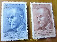 EBS Czechoslovakia 1950 - Josef Gregor-Tajovský - Michel 636-637 MNH**