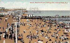 Asbury Park New Jersey 1909 Postcard Beach, Boardwalk and Fishing Pier