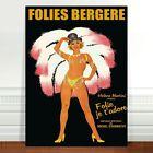 "Vintage French Caberet Poster Art ~ CANVAS PRINT 18x12"" Folies Bergere"
