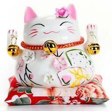 "4.5"" Maneki Neko Lucky Fortune Cat Coin Bank Home Car Decor Ornately Porcelain A"