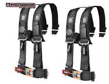 """2x Pro Armor 3"""" Seat Belt 4pt Harness w/Sewn Pads BLACK Polaris Can-am Kawasaki"""