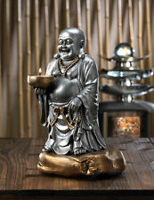 """11"""" happy fat BUDDHA Statue Candle Holder incense burner offering bowl lucky L"""