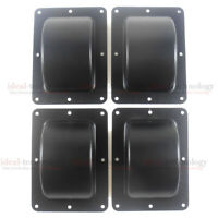 "4 Pcs Recessed Black Castor Dish 6"" x 4"" to Fit 3"" or 4"" Wheels For ATA Cases"