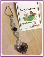 Handmade Purple Heart Sun-Catcher Swarovski Crystals Czech Beads