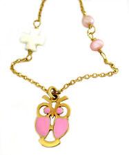 Eulen Collier 9 Karat 375 Gold rosa kleine Perlen Perlmuttkreuz + Goldbox KRGR40