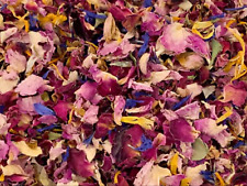 1 Litre 2 pint dried marigold blue corn + pink red rose Wedding confetti throws