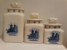 Dutch Holland Themed Decorative Glossy Ceramic CANISTERS/JARS Set of 3 - VGC