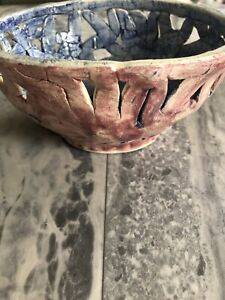 SMC Pink Handmade Fruit/Decorative Bowl & Butterfly Detail Shabby Chic 30cm
