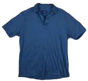 ETON Contemporary Mens Solid Blue Polo Shirt Size Large Linen Cotton Blend