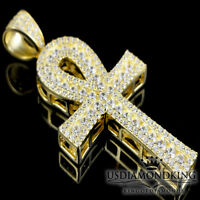 """Yellow Gold Over 925 Sterling Silver 1.75"""" Egyptian Ankh Cross Charm Pendant New"""