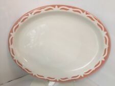 """VINTAGE WALLACE CHINA PLATE PINK TRIM 12-1/2"""" X 9-3/4"""" OVAL SERVING PLATTER 8-O"""