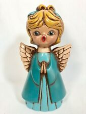 Vtg Christmas Angel Ceramic Hand Painted Pottery Teal Open Mouth Retro Kitsch
