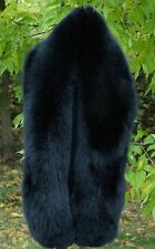 Premium Quality Saga Furs Jet Black  Fox Fur Shoulder Wrap Scarf Boa Stole 70""