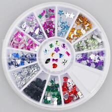 300pc Rhinestone 3D Nail Art Fashion Diamante Glitter Gem Multi Colour Shapes