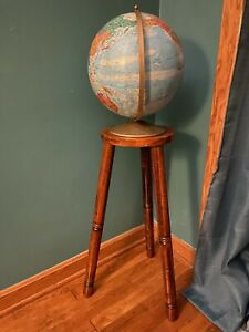 "Vintage Replogle World Nation Series 12"" Globe Wood Floor Model 40"" Tall 1976"
