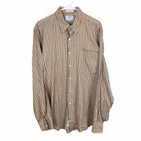 Gitman Bros Button Front Shirt Large Orange Brown Beige Striped Indian Cotton