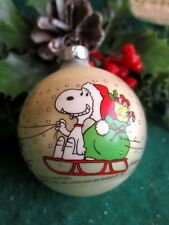Vintage Mercury Glass Santa Snoopy Sleigh Woodstock Christmas Hallmark Ornament