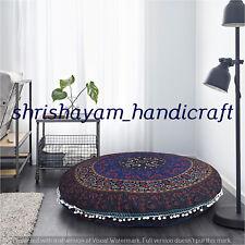 "32"" Indian Floor Pillow Cover Cotton Mandala Sham Large Pouf Meditation Cushion"