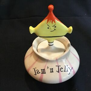 Vintage 1959 Holt Howard Pixie Condiment Jar Jam Jelly Base Snarky Mustard Top