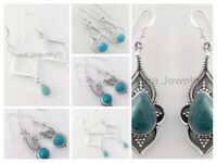 Beautiful Turquoise Solid 925 Sterling Silver Dangle Earrings Mothers Day Gift