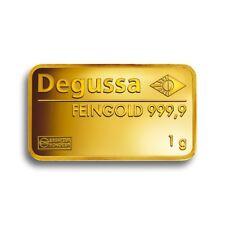 Degussa Pure Gold 1G Gram 24 Carat Gold Bar 999.9 Pure Gift Investment