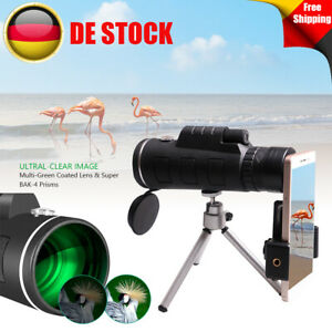 40x60 Zoom Monokulares HD Teleskop Ferngläser Fernrohr mit Stativ Clip Für Handy