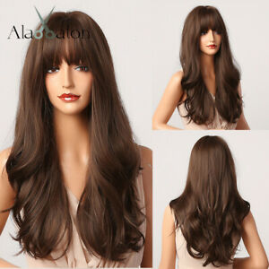 Long Wavy Dark Brown Synthetic Wigs with Bangs Cosplay Party Hair for Women