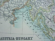 1910 MAP ~ AUSTRIA HUNGARY BOHEMIA GALICIA TYROL BOSNIA DALMATIA