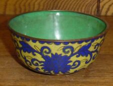 """Antique / Old Chinese Yellow & Blue Cloisonne Rice Bowl - 4"""""""