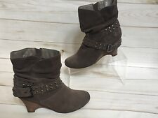 Naughty Monkey Women's Brown Suede Moto Style Studded Wedge Heel Boots Size 8