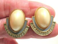 GIVENCHY NEW YORK PARIS EARRINGS CLIP ON RUNWAY COUTURE PEARL CLEAR STONE ENAMEL