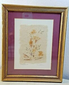"""1990 Dried Wildflowers Flowers Wall Decor Signed Framed Matted 11.5"""" x 9.5"""""""