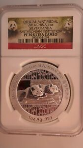 Official Medal 2014 China 1oz Silver Panda Smithsonian Institution NGC PF 70 UC