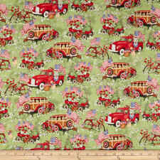 Red Truck & Wagons Puppy Sewing Quilting Quilt Fabric Susan Winget FQ Green
