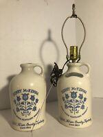 Vintage Henry McKenna Kentucky Whiskey Stoneware Half Gallon Jug and Lamp Pair